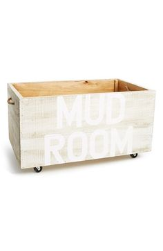 Free shipping and returns on Face to Face 'Mud Room' Reclaimed Wood Crate at Nordstrom.com. Sure to add rustic style to your entryway, an earthy crate—individually handcrafted in rough-cut reclaimed cypress—is hand painted with 'Mud Room' across the side and set on sturdy casters designed to protect sensitive flooring. Entirely made by hand, each box is truly one of a kind.