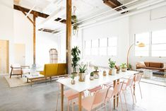 Denver-Based photography studio & event space with 18 foot ceilings. Party Venues, Event Venues, Vintage Furniture, Home Furniture, Rectangle Table, Scroll Design, Photo Studio, Interior Design, Room