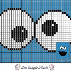 Cookie Monster Portrait by Two Magic Pixels Intarsia Patterns, Crotchet Patterns, Crochet Blanket Patterns, Knitting Patterns, Cross Stitching, Cross Stitch Embroidery, Cross Stitch Designs, Cross Stitch Patterns, Pixel Art