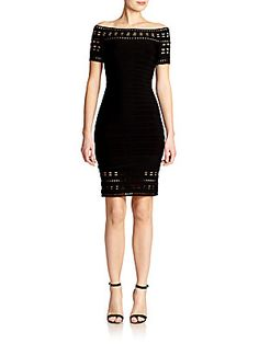 Herve Leger Rick-Rack Off-Shoulder Bandage Dress/sks