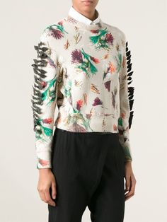 Shop TOGA intarsia cropped sweater from Farfetch #togaarchives #togapulla
