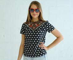 fox print shirt black & white Supayana Small, Medium, and Large. $60.00, via Etsy.