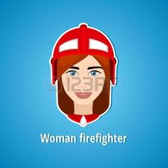Vector illustration of a girl firefighter Woman firefighter Icon Flat icon Minimalism The stylized g Stock Vector