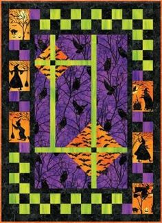 What is going on outside the window? Looks like a real spooky night!! Have fun with this Halloween quilt pattern! This pattern was done using a panel but any large focus print fabric can be used. Halloween Quilt Patterns, Halloween Quilts, Fright Night, Printing On Fabric, Blanket, Fun, Window, Design, Wall