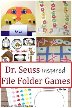 Looking for fun Dr. Seuss games for preschool & kindergarten? These Dr Seuss File Folder Games are fun to play and are easy to store to use year after year. Dr Seuss Activities, Preschool Learning Activities, Preschool Printables, Preschool Activities, File Folder Games, Kids Party Games, Games For Kids, Dr Seuss Game, Book Reviews For Kids