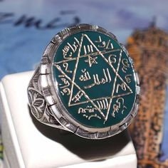 Seal of Solomon Talisman Ring Sterling Silver Green Agate Handcrafted unique  #KaraJewels #Islamic