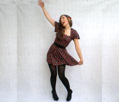 Vintage Pin-Up Girl Dress - Black & Red Sexy Cherry Print Retro 50s Rockabilly Mini