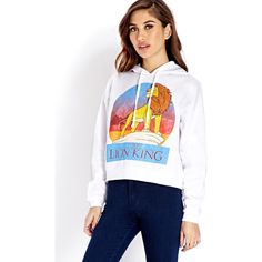 Forever 21 Women's The Lion King Hoodie ($23) ❤ liked on Polyvore featuring tops, hoodies, outfits, long sleeve tops, hooded pullover, white long sleeve top, white hooded sweatshirt and graphic hoodies