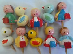 Vintage wooden cake cupcake toppers birthday candle holders