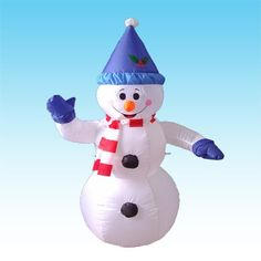 4 Foot Christmas Inflatable Happy Snowman Yard Blow Up Art Decor
