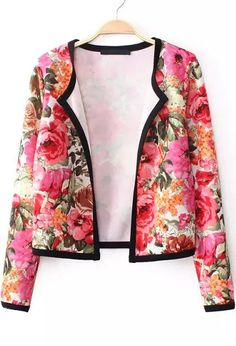 Red Long Sleeve Contrast Trims Floral Crop Outerwear 30.00