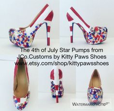 SHOP NOW: https://www.etsy.com/listing/502229352/the-4th-of-july-star-pumps-from