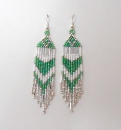Pastel Colored Seed Bead Fringe Earrings - Spring - Light Transparent Rainbow Green, White and Silver Seed Bead Earrings--Pretty Colors $16.99