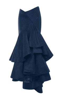Pinstriped Linen Layered Ruffled Skirt by ROSIE ASSOULIN Now Available on Moda Operandi
