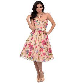 Unique Vintage 1950s Style Peach Floral Dandridge Strapless Chiffon Swing Dress $104.00 AT vintagedancer.com