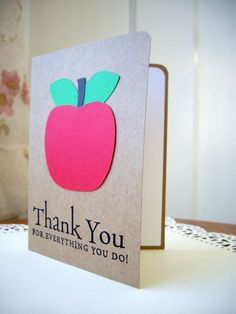 apple thank you card teacher thank you card by PointingDogPaper