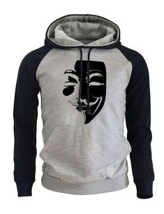 Hoody For Male 2017 Autumn Winter Fleece Sweatshirt With Hat Warm Print V  for Vendetta Hip Hop Fashion Raglan Hoodies Pullovers 68da77faa