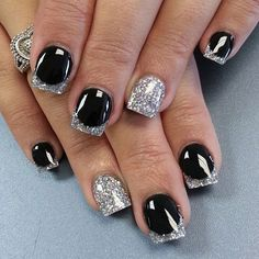 Classy Black and Silver Nail Design for Short Nails