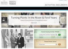 Special DocsTeach.org page from the National Archives: Help your students explore the eras of Presidents Nixon and Ford. Choose from the various teaching activities and primary sources to get students to think critically about turning points from 1969 to 1977. Check back throughout 2013 as we will continually add new activities. This year—2013—marks the 100th birthday anniversaries for both President Richard Nixon and President Gerald Ford, born in 1913!