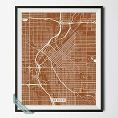 DENVER, COLORADO STREET MAP PRINT by Voca Prints! Modern street map art poster with 42 color choices. Perfect for anyone who loves to travel or is away from home.