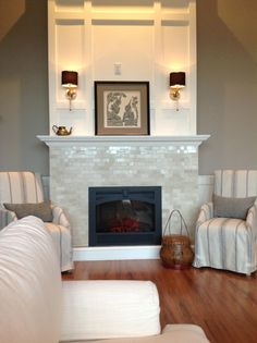 linear fireplace with tile and floating mantel - Google Search ...