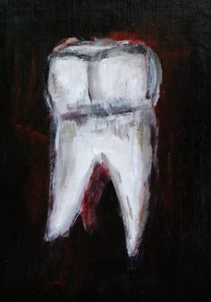 Acrylic Painting of Molar - Original Painting of Teeth Artwork - Dramatic Black and White Art - 5x7 - Weird Dentist Painting