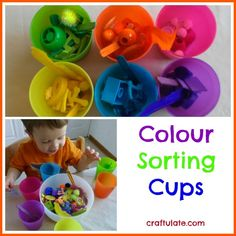 This easy colour sorting activity uses six coloured cups and assorted toys and household items in those six colours.