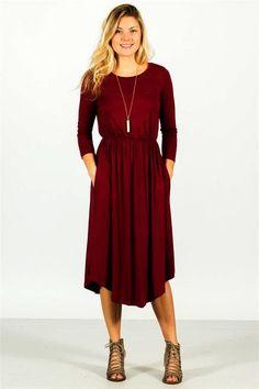 Pocket Midi Dress - Purple - Burgundy - M - Clothes Beach Wear Dresses, Day Dresses, Nice Dresses, Casual Dresses, Casual Attire, Summer Dresses, Midi Dress Outfit, Dress Outfits, Dress Clothes