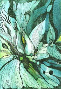 Bellissimo studio in verde dell'artista slovacca Zuzana Mezencevova