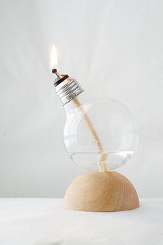 Recycled Light Bulb Oil Lamp Handmade by RecycledLightCompany, $45.00