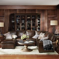 """Brentwood 124"""" Three Piece Leather Sectional In Matador Walnut"""