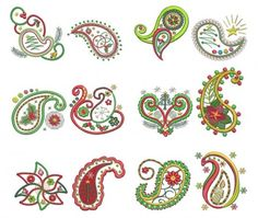 Paisley Christmas Applique Machine Embroidery Designs | Designs by JuJu