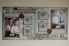 """The Hardy Boys""double page scrapbook layout by Jamie Penson using the Fab Scraps ""Vintage Baby"" paper collection.  jamieshappyscrapping@blogspot.com"