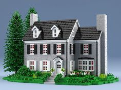 Lego build of a stone house. About 15500 bricks. Computer renderings but only existing bricks were used. Lego Ninjago, Lego Duplo, Lego Moc, Minecraft Brick, Cool Minecraft Houses, Lego Minecraft, Minecraft Ideas, Minecraft Skins, Minecraft Buildings