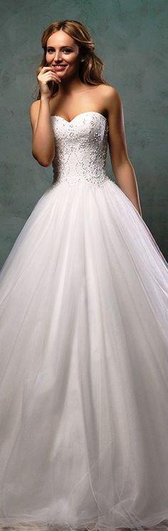 Amelia Sposa 2016 wedding dress strapless sweetheart neckline beaded bodice pretty ball gown A-line dress monica