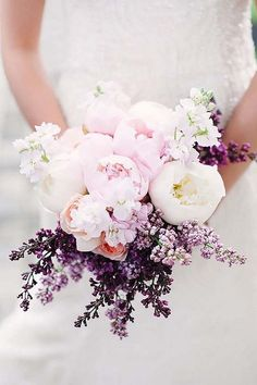 Lilac and peonies bridal bouquet