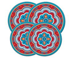 Round Burner Covers- Fun Hispanic design to liven up your kitchen! Give your stove a splash of color that it's been waiting for! Set Includes 2 Large Burner Kovers and 2 Small Burner Kovers.