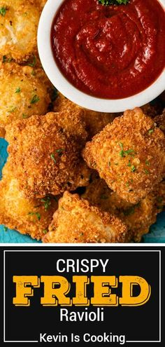 This cheese ravioli recipe makes a delicious appetizer with a crispy coating. Make deep fried ravioli for a delicious game day snack! Fried Ravioli Recipe, Cheese Ravioli Recipe, Easy Appetizer Recipes, Yummy Appetizers, Appetizer Ideas, Snack Recipes, Snacks, Deep Fried Recipes, Deep Fried Foods