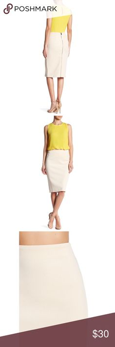 """• exposed zipper pencil skirt • Waist is 16 inches. Length is 25 inches. Back exposed zipper all the way down. New with tags. Color is """"mica beige"""" Catherine Malandrino Skirts Pencil"""