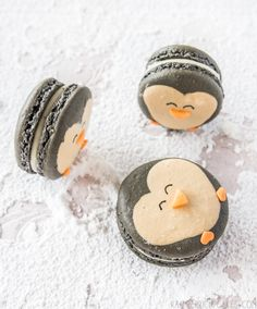 Penguin Macarons with Eggnog Ganache