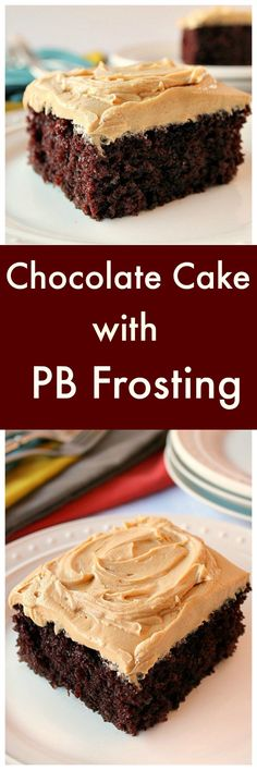 Homemade Chocolate Cake with Peanut Butter Frosting - Chocolate and coffee combined give you a spectacular mocha flavor. The cake is very moist and soft. via @https://www.pinterest.com/BunnysWarmOven/bunnys-warm-oven/