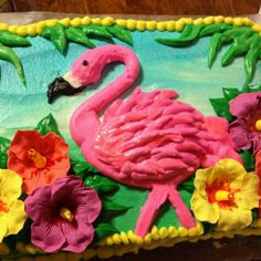 Flamingo birthday cake with gum paste hibiscus flowers. Chocolate cake with white chocolate frosting, can't wait to dig in! Pink Flamingo Party, Flamingo Cake, Flamingo Beach, Flamingo Birthday, Pink Flamingos, Hawaiian Birthday, Baby Birthday, Birthday Ideas, Birthday Parties