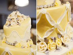 Beauty & The Beast Wedding Cake. Yellow & Cream. Suited for a princess!