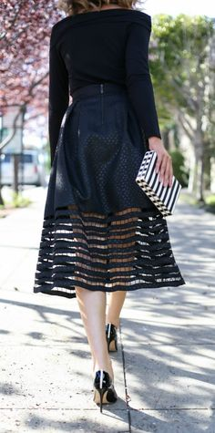 black cut-out midi skirt, black off-the-shoulder long sleeve top, black patent leather pointed toe pumps, black and white enamel clutch, gold choker, sunglasses + curled hairstyle {sachin +babi noir, splendid, sjp collection, sole society, miu miu}