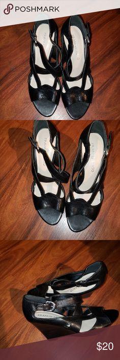 da07b463bcc Franco Sarto sandals Franco Sarto black leather sandals. Featuring a wede  heel. Criss cross