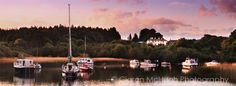 """Last Light at Lisloughrey""""-  This photograph of Lisloughrey was taken late in the evening in July 2008. Lisloughrey Lodge was built in 1820 and overlooks Lough Corrib at Lisloughrey Quay, near Cong, Co. Mayo.  Lisloughey is now part of nearby Ashford Caste and is now known as The Lodge at Ashford. See more at http://www.ciaranmchugh.com/?pagid=last-light-at-lisloughrey"""