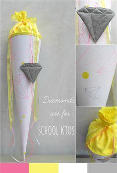 Schultüte : Diamonds are for… school kids!  Schulanfang für ABC Schützen mit einer selbstgemachten Schultüte simpel, kostengünstig, einfach nachzumachen