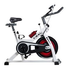 Tauki Indoor Upright Exercise Bike W LCD Monitor Cycling Bike for Health and Fitness White * You can find more details by visiting the image link. (This is an affiliate link) Gym Exercise Equipment, Home Gym Equipment, Training Equipment, Fitness Equipment, Spin Bike Workouts, Fun Workouts, At Home Workouts, Indoor Cycling Bike, Cycling Bikes