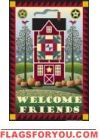 Quilt Barn Welcome Friends House Flag - 1 left Fall Garden Flag, Yard Flags, House Flags, Barn Quilts, Folk Art, Friends, Holiday Decor, Music, Amigos