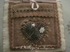 Woolkeeper ~ Wool Works by Kathleen Wall. Wool Applique Patterns, Felt Applique, Wet Felting Projects, Wool Quilts, Wool Embroidery, Wool Art, Needle Book, Penny Rugs, February 2015